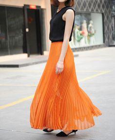 Pleat Full Skirt in Chiffon