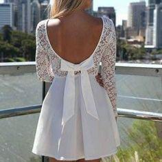 Bow back white dress $68.00