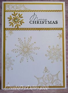 Gold Snowflakes christmas card. would look nice with just season's greetings