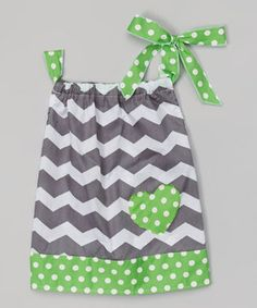 Green Zigzag & Polka Dot Tie Top - Infant, Toddler & Girls by Lady's World #zulilyfinds