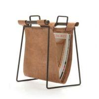 Leather and Iron Magazine Rack