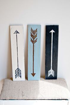Simple Decor. Color contrast arrows on wood. Really love this