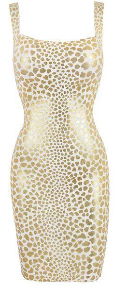 'Caroline' Cream & Metallic Gold Leopard Print Bandage Dress