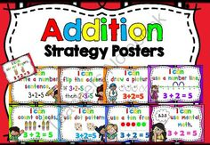 Addition Strategy Posters from Little Achievers on TeachersNotebook.com -  (9 pages)  - These colorful, bright Addition Strategy Posters serve as an important addition tool to introduce addition strategies.