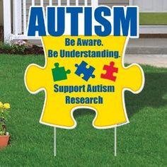 Autism Awareness. yard sign, autism awareness, puzzles, front yards, ebay, children, puzzl piec, puzzle pieces, awar puzzl
