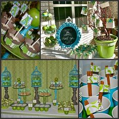 Blue & Green birdcages baby shower