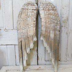Wood metal angel wings hand painted dove gray by AnitaSperoDesign, $195.00