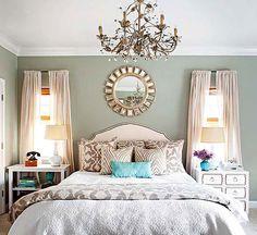 mirror, wall colors, bedroom decor, color schemes, guest bedrooms, colorful summer master bedroom, master bedrooms, paint colors, guest rooms