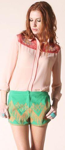 Embroidered Chiffon Shirt