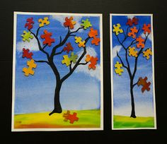 that artist woman: Fall Puzzle Trees Love this!! I'm doing it for sure with my class.
