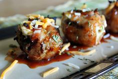 Grilled Pepper Popper Stuffed Mushrooms