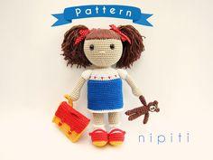 Pattern: Crochet Doll with Teddy Bear and a Backpack - My School Friend Doll - PDF Amigurumi Doll Pattern - Back to School