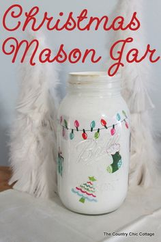Christmas Mason Jar ~~ * THE COUNTRY CHIC COTTAGE (DIY, Home Decor, Crafts, Farmhouse)