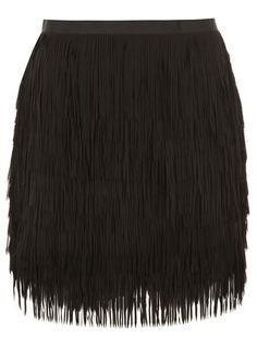 Black Tassle Mini Skirt