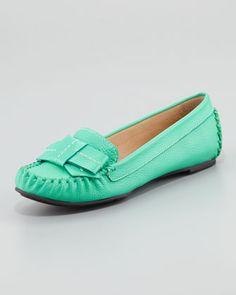Kate Spade willie tumbled leather loafer, emerald green - Neiman Marcus
