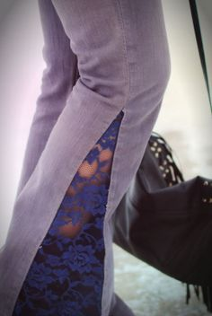 DIY lace flare jeans