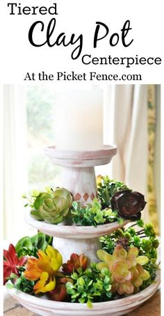 How to make a tiered clay pot centerpiece with succulents from atthepicketfence.com clays, craft, idea, tier clay, centerpieces, pot centerpiec, garden, diy, clay pots