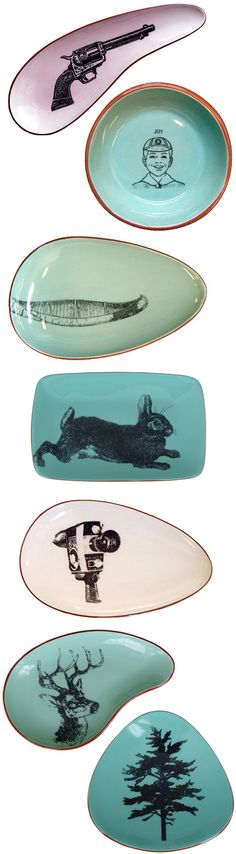 Vancouver based artist Laura McKibbon, my favorite one is the top one, gun plate.