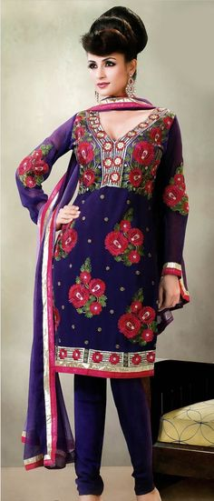 #Purple and #Lavender Faux #Georgette #Churidar Kameez @ $ 74.81