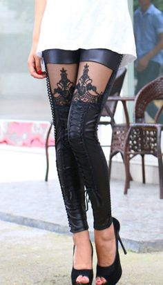 Black Lace-up PU Leggings With Lace Panel