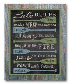 Look at this 'Lake Rules' Wrapped Canvas on #zulily today!