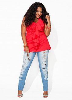 outfits, ashley stewart, size women, girl style, plus size fashions, curvi fashion, curvi women, shirt, colored jeans