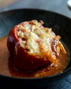 White Bean + Chicken Enchilada Stuffed Peppers I howsweeteats.com
