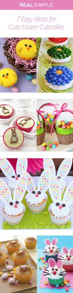 7 easy DIY ideas for cute Easter cupcakes.