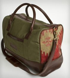 The Ulysses Weekender Bag by Clark & Madison on Scoutmob Shoppe. Made with WWII-era army tents, Turkish pillows and hand-dyed leather.