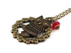 Owl Peace Sign Necklace Bronze Antique Brass by JewelrybyKristine2 for $10.00 #zibbet