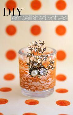 DIY embellished votives