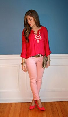 Fashion: Cute Outfit; Hot Pink Blouse with Pink Jeans and Statement Necklace