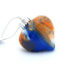Blue and Orange Glass Heart Christmas Ornament by creationsbyjdb