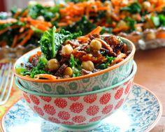 kale salad, chickpea salad
