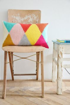 wood & wool harlequin pillow by woodwoolstool on Etsy