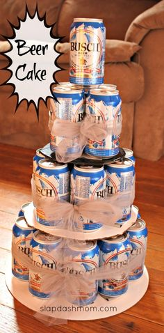 DIY Beer Tower Cake #hoosier making this for fonzos bday but coors!