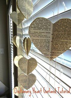 dictionary heart garland
