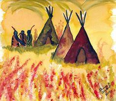 Tipi Watercolor Digital Print Native American Folk Art Painting Wall Decor  8 x 10 Giclee Print
