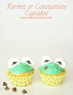 Kermit or Constantine Cupcakes #recipe #cupcake #cupcakes #muppets #recipes #food