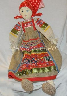 Handmade Doll From POLAND Detailed Clothing Painted Face Burlap Dress MINT