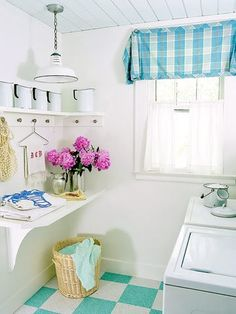 Cottage laundry room, checkered floor