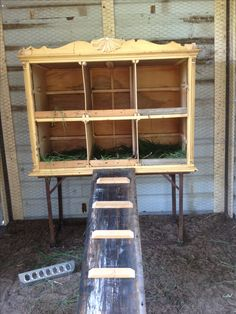 DIY - old dresser with broken legs turned into a fabulous 6 block nesting box for our chickens!