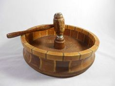 "Vintage Red Wood Forest Rustic Nut Cracker Bowl Wood Mallet 10 1 2"" Diameter 