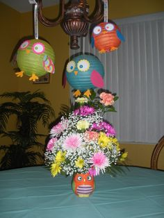 Decorations at an owl party. We could put one eye on them and nake them monsters