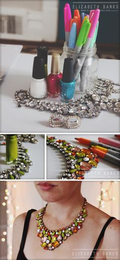 Use sharpies and nailpolish to color up bland costume jewelry-- genius! If this works, it could be a game changer: http://elizabethbanks.com/blog/post/diy-statement-necklace