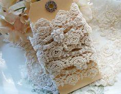 Vintage Shabby Chic Ivory Lace & Rose Trim by Alyssabeths