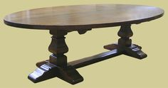 Large 10-seater, period style, oval oak pedestal dining table, with square cut legs. #period #style #oak #table