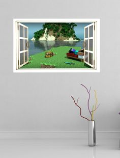 Minecraft full colour magic window image wall sticker mural style1