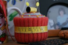 Adorable pin cushion made from old sweaters