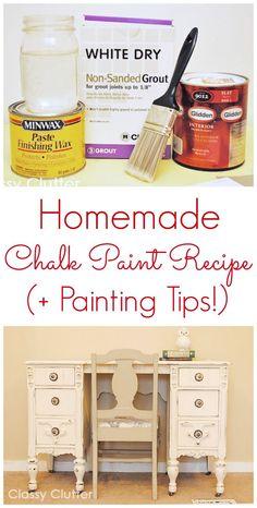 DIY Chalk Paint Recipe - www.classyclutter.net